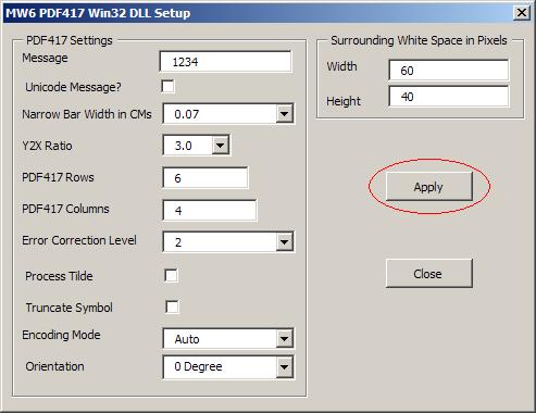 MW6 PDF417 Win32 DLL Manual